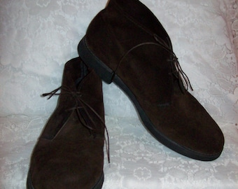 Vintage Mens Brown Suede Leather Chukka Ankle Boots by Towncraft Size 12 Only 19 USD