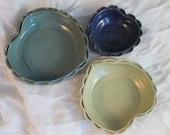 Nesting bowls - heart shape - purple blue and yellow