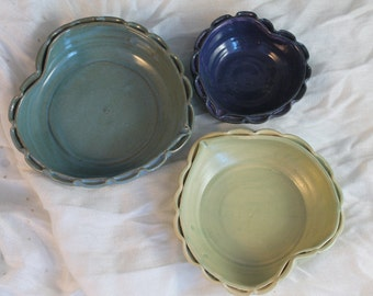 Nesting bowls - heart shape - purple blue and yellow