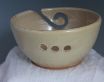 Knitting bowl - pottery yarn bowl - rustic yellow - in stock and ready to ship