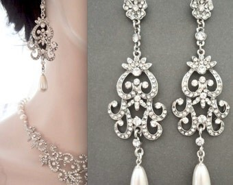 Pearl earrings, Long pearl drop earrings, Swarovski pearl earrings, Vintage style wedding earrings, Art deco earrings, ALEXIS