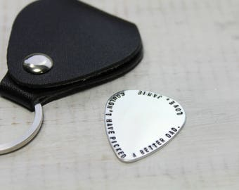 Personalized Guitar Pick with Key Chain Holder- Guitar Pick- Hand Stamped Guitar Pick- Leather Key Chain Holder