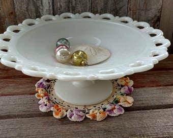 Mid Century Milkglass Cake Plate - Vintage Wedding + Retro Kitchen Decor, Holiday Party Cake Plate, Country Wedding Centerpiece, Home Decor
