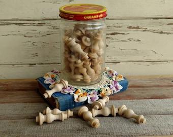 Antique Clear Glass Jif Peanut Butter Jar Filled With Wood Craft Destash - Vintage Kitchen Decor, Creamy Jif Peanut Butter, Wooden Knobs