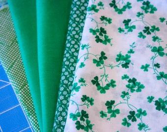 Fabric Bundle, DeStash, Scrap Bag, Green Fabric for St Patricks Day Projects