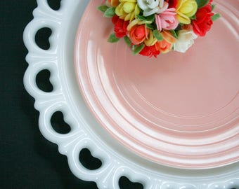 White Milk Glass, Scalloped Heart Lace Edge Platter, Anchor Hocking, Mid Century Serveware