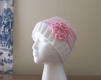 Chemo Hat Cotton Sleep Cap for Women, Knit in Pink and White Stripes, Soft Yarn with Crocheted Flower Accent, Cancer Patient Gift Ships asap