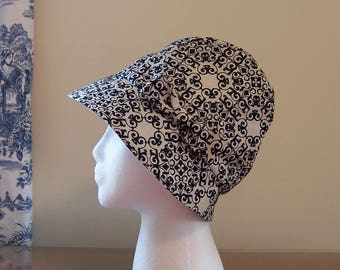 Chemo Hat Women's Cotton Print in Contemporary Black and Beige, satin lined with fabric bow, Cloche Style, Cancer Patient Gift, Ships ASAP
