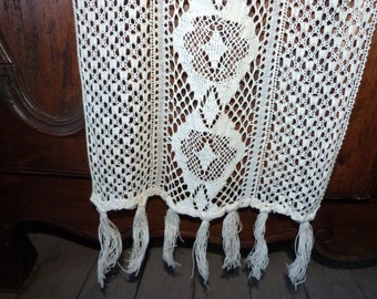 Antique French crocheted lace curtain drape, LONG handmade window curtain drapery panel, ecru linen hand crocheted lace curtain w fringes