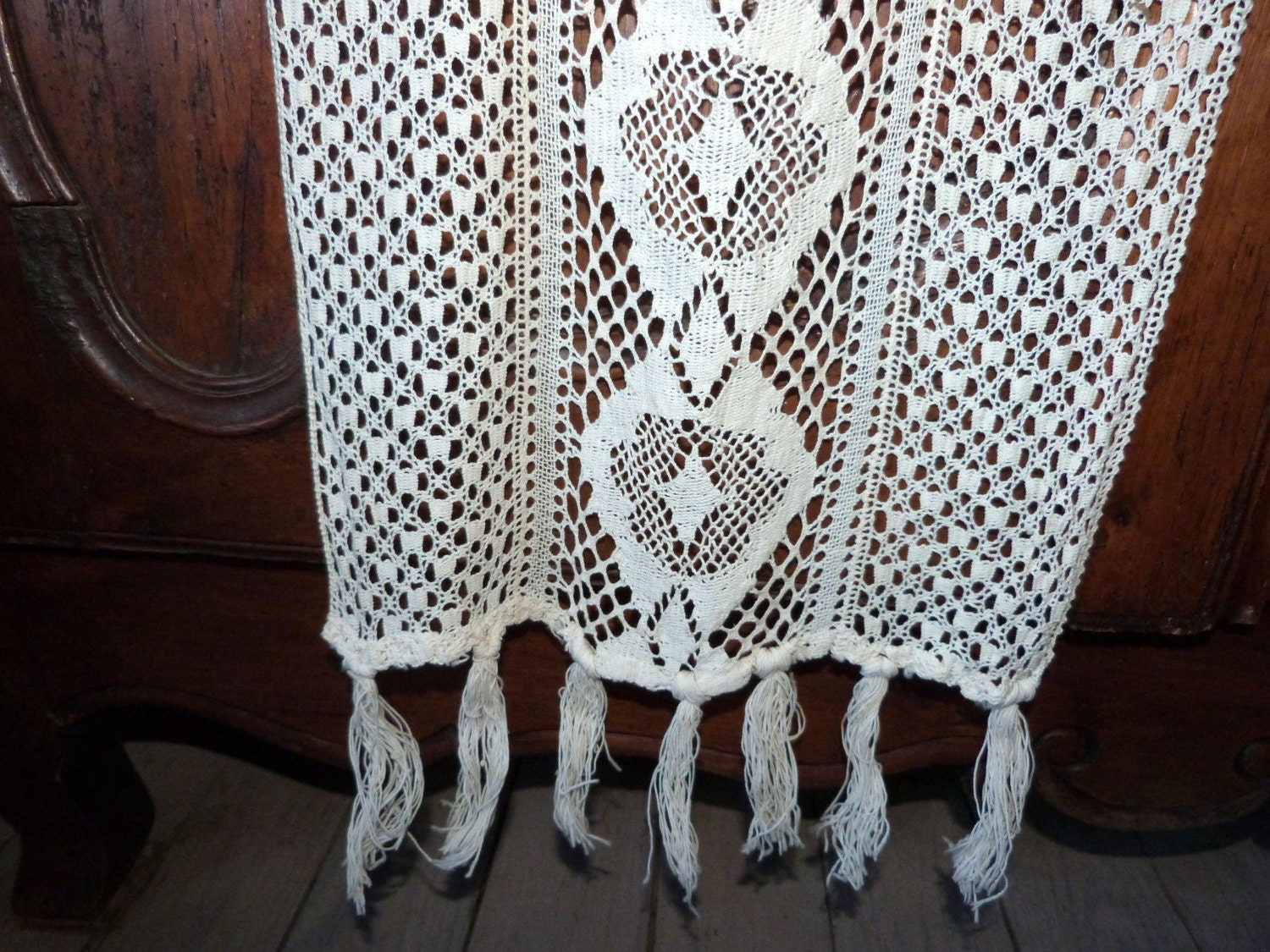 antique french crocheted lace curtain drape long handmade. Black Bedroom Furniture Sets. Home Design Ideas