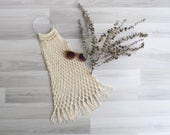 Vintage 70's Macrame Boho Bag with Clear Round Handles