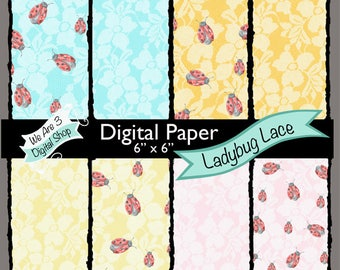 We Are 3 Digital Paper, Ladybug Lace
