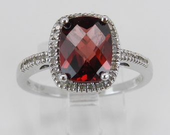 Garnet and Diamond Halo Engagement Promise Ring White Gold Size 7 Cushion Cut January Birthstone