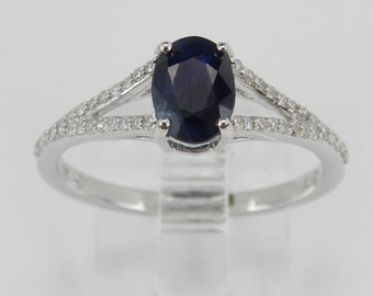 Diamond and Sapphire Engagement Ring Promise White Gold Size 7 September Gem