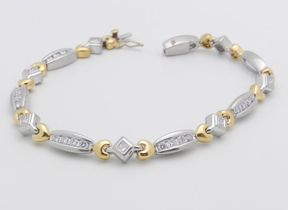 Platinum and 18K Yellow Gold 2 ct Diamond Tennis Bracelet Heart Design 7""