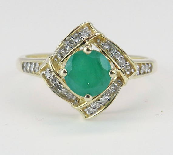 Emerald and Diamond Engagement Ring Promise Halo Ring 14K Yellow Gold Size 7.25