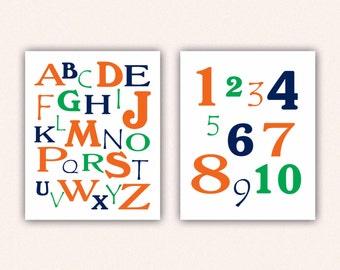 Alphabet and Numbers Print Set - Orange Green Navy ABC's and 123's for Kid's Bedroom - Custom Nursery Art (5003)