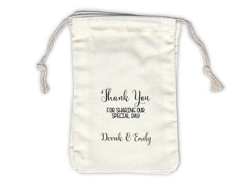Thank You Special Day Personalized Cotton Bags for Wedding Favors in Black Script - Ivory Fabric Drawstring Bags - Set of 12 (1035)