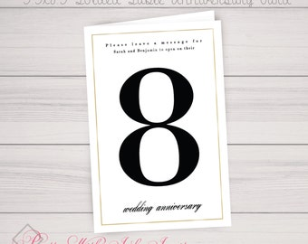 Table Number Anniversary Book Card Gatsby, Simple, Gold, Black, Elegant, 20s, Classy, Unique, Momento, Wedding, Anniversary