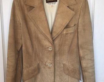 Vintage Suede 70s Jacket blazer natural leather by Split End Ltd