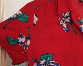 Vintage 80s 90s red hawaiian shirt by Furst xs womens