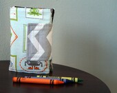 Crayon Organizer - Monsters - Gray - Green - Blue - Crayon Holder - Crayon Roll - Christmas Gift Under 20