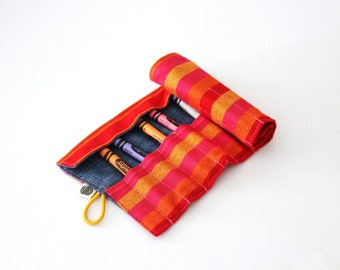 Crayon Roll, Red, Orange, Yellow and Pink Striped Kikoy Organizer, Take-along Crayons