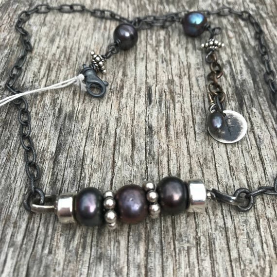 Oxidized Sterling and Black Pearl Necklace - Raw - Rustic Artisan Urban - Sundance Style