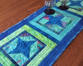 Quilted Table Runner, Quilted Batik Table Runner, Blue Batik Table Runner, Handmade Quilted Runner, Patchwork Table Runner