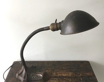 Vintage Industrial Robert Shwartz Cast Iron Gooseneck Desk Lamp