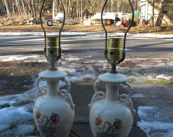 nice matching pr of vintage antique 1940s pottery china FLORAL TABLE LAMP