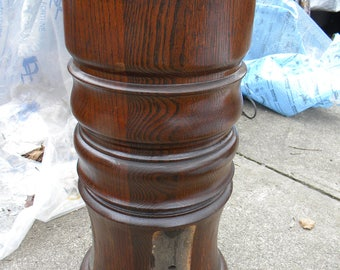 good solid shape antique OAK TABLE CENTER column part plant stand