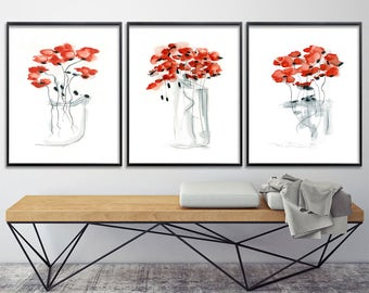 Red Poppy Print Set, watercolor print set, floral gift up to 11x16, nursery art, express shipping