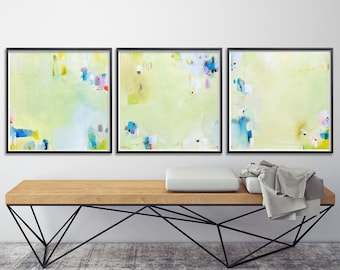 Giclee prints of Abstract painting - Set of Three - Light green with blue - Print Set - gift for her 8x8 or 12x12, nursery art
