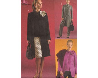 McCalls M4656 Bust 38-44 Hip or Knee Length Blazer Coat with Flower Pin Bias Cut Skirt or Pants Misses Size 16-22 Uncut Sewing Pattern