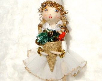 Spun cotton Christmas girl ornament a OOAK vintage craft by jejeMae