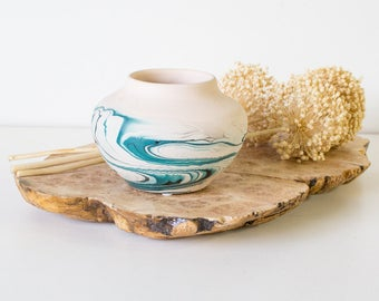 Vintage Nemadji Pottery Pot, Teal / Aqua / Turquoise, Southwestern