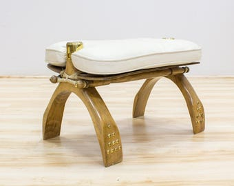 Vintage Camel Saddle, Foot Stool, Ottoman, White Bohemian Tribal Decor