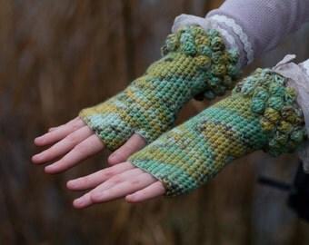 Fields of Spring Crochet Fingerless Gloves