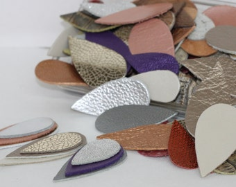 100 pcs Mixed Colors  Metallic Leather Teardrops, Mixed Sizes, Multicolor Genuine  Leather