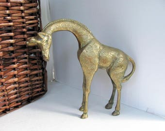 Brass Tall Giraffe / Brass Statue / Nursery Decor