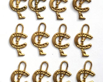 Brass Vintage Horseshoe and Lasso Stampings, Horse Jewelry, Vintage Jewelry Supplies, Patina Brass, B'sue Boutiques, 23 x 13mm, Item02006