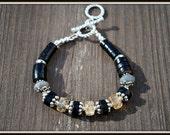 Citrine Bracelet, Citrine and Leather Bracelet, Labradorite Citrine Bracelet, Bracelet with Leather, Leather Gemstone Bracelet