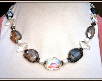 Chunky Glass Necklace, Freeform Glass Necklace, Glass and Pearl Necklace, Glass Statement Necklace, One Of A Kind Necklace, Glass Jewelry