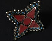 Vintage Kuchi Tribal Star RING RED Size 10 Theater Stage Prop Belly Dance Costume Jewelry Uber Kuchi®