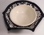 Microwave Bowl Cozy, Bowl Pot Holder, Bowl Cozy, Soup Bowl Cozy, Microwave Hot Pad, Fabric Bowl Cozy, Black and White Floral Print