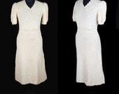 1930s Dress // Yellow Crochet Puff Sleeve Dress