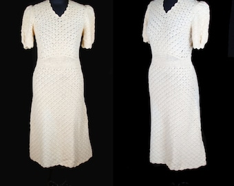 1930s Dress // Yellow Crochet Puff Sleeve Dress