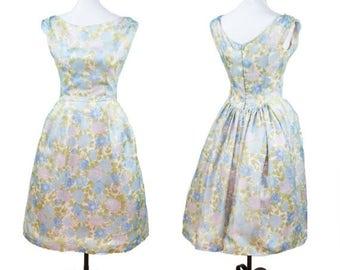 SPRING SALE 1950s Dress // Blue Floral Nylon Chiffon Full Skirt Sleeveless Garden Party Dress by Lorrie Deb