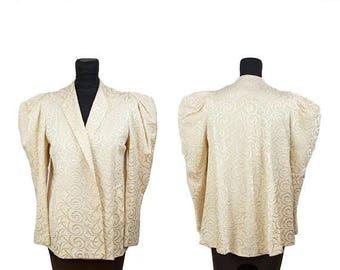 WEEKEND SALE 1930s Jacket // Ivory Wool Mutton Sleeve Embroidered Art Deco Scroll Swing Back Jacket Coat